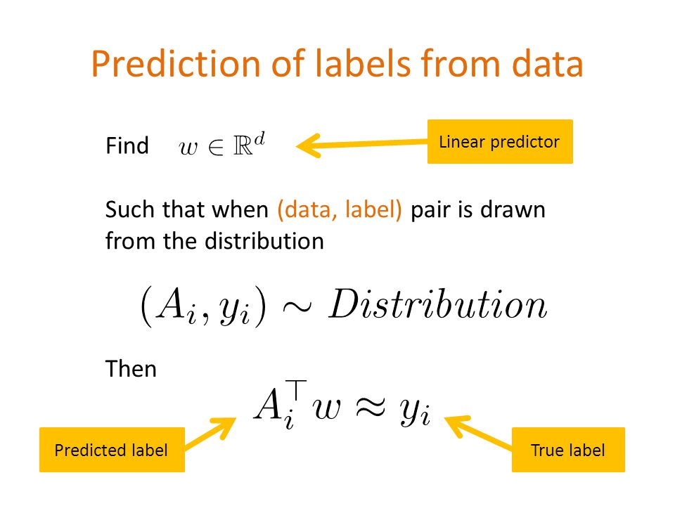 Prediction of labels from data \[(A_i,y_i)\sim \emph{Distribution}\] \[A_i^\top w \approx y_i\] Find Such that when (data, label) pair is drawn from the distribution Then Predicted labelTrue label Linear predictor