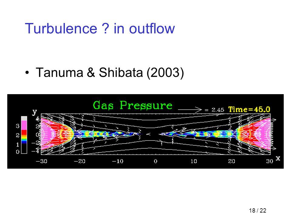 18 / 22 Turbulence in outflow Tanuma & Shibata (2003)