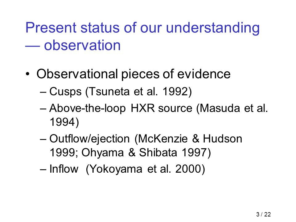 3 / 22 Present status of our understanding — observation Observational pieces of evidence –Cusps (Tsuneta et al. 1992) –Above-the-loop HXR source (Mas