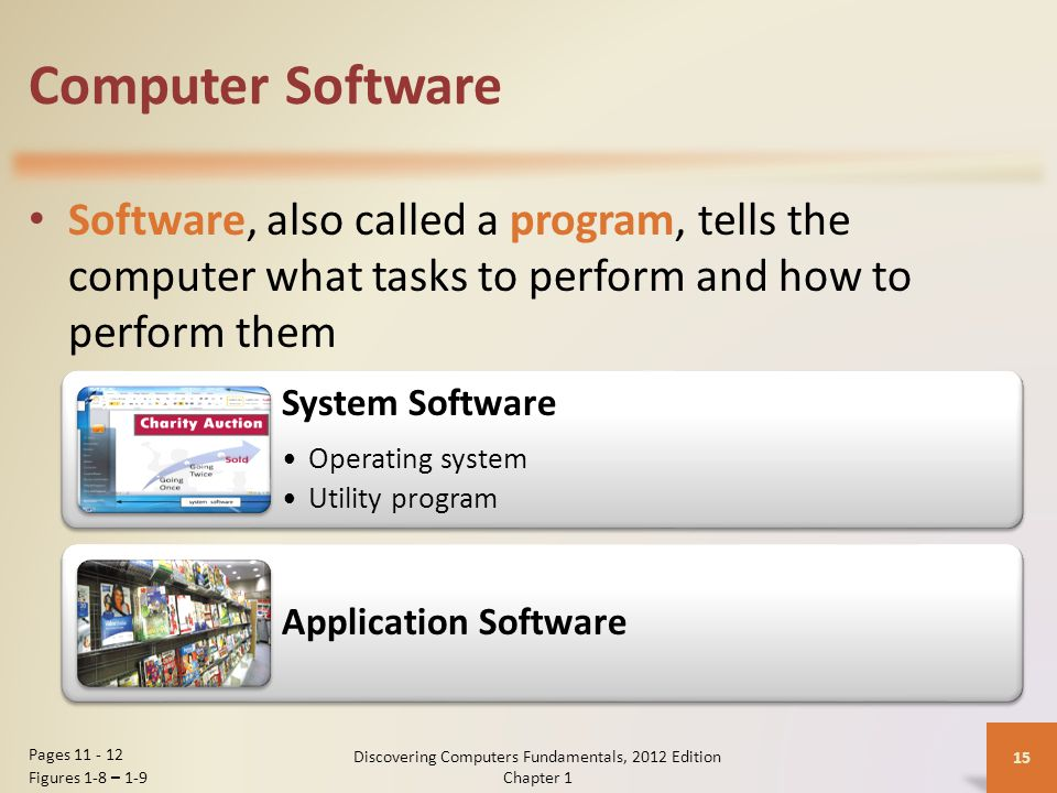 Computer Software Software, also called a program, tells the computer what tasks to perform and how to perform them Discovering Computers Fundamentals, 2012 Edition Chapter 1 15 Pages Figures 1-8 – 1-9 System Software Operating system Utility program Application Software
