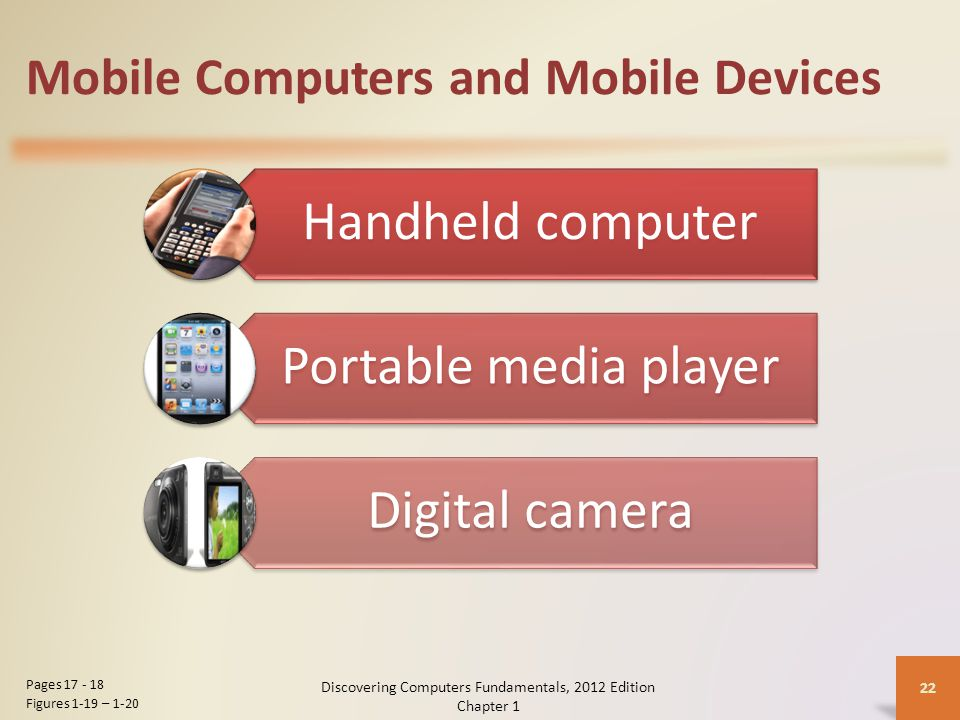 Mobile Computers and Mobile Devices Handheld computer Portable media player Digital camera Discovering Computers Fundamentals, 2012 Edition Chapter 1 22 Pages Figures 1-19 – 1-20