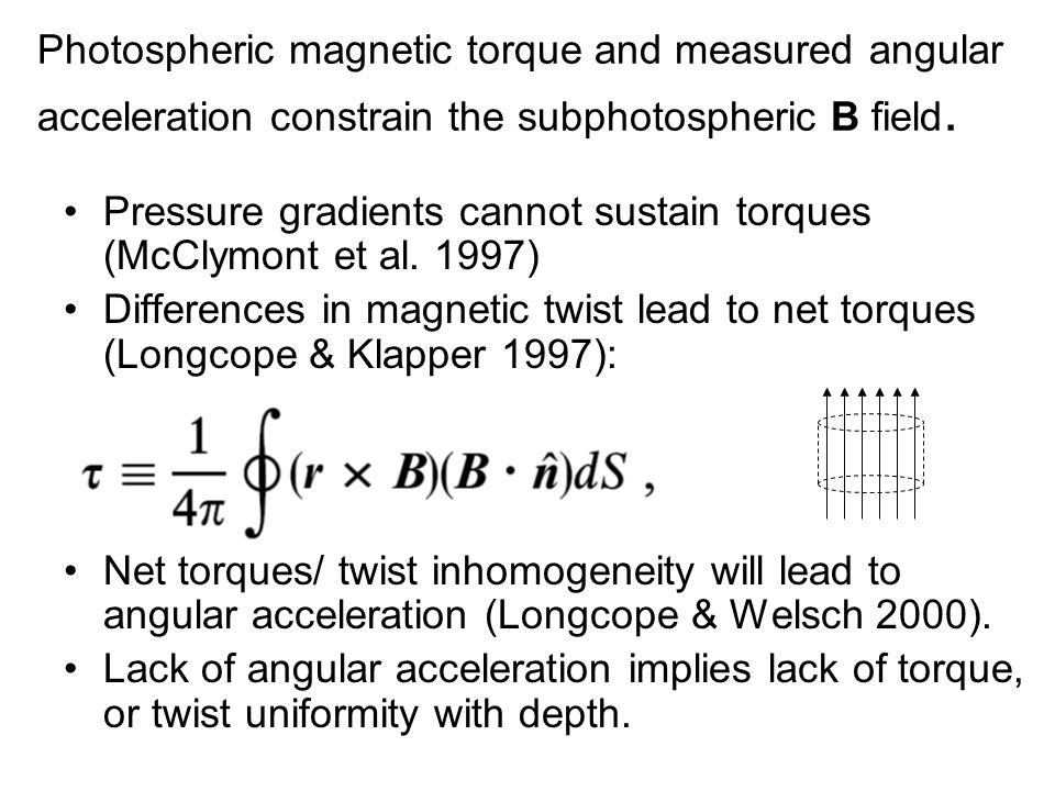 Photospheric magnetic torque and measured angular acceleration constrain the subphotospheric B field.