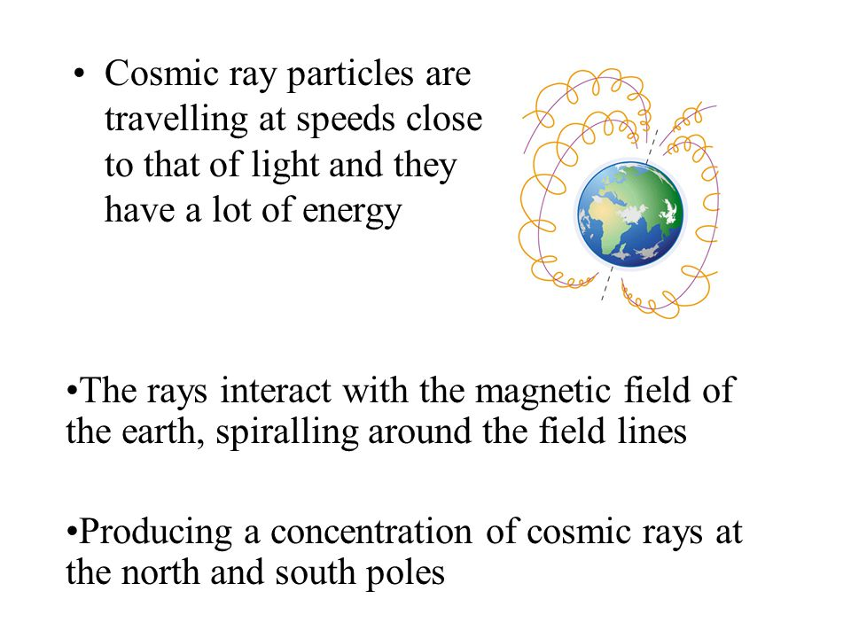 Cosmic ray particles are travelling at speeds close to that of light and they have a lot of energy The rays interact with the magnetic field of the earth, spiralling around the field lines Producing a concentration of cosmic rays at the north and south poles