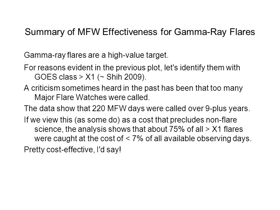 Summary of MFW Effectiveness for Gamma-Ray Flares Gamma-ray flares are a high-value target.