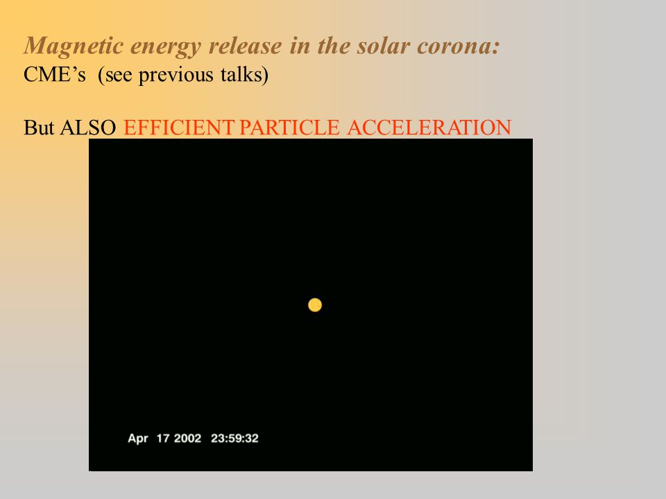 Magnetic energy release in the solar corona: CME's (see previous talks) But ALSO EFFICIENT PARTICLE ACCELERATION
