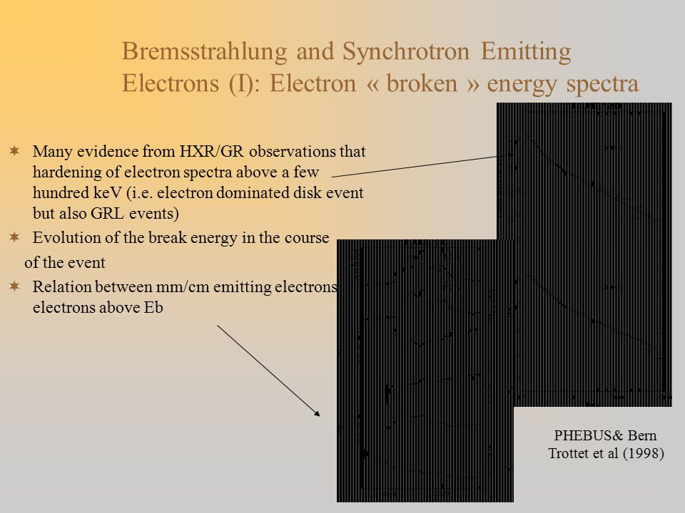 Bremsstrahlung and Synchrotron Emitting Electrons (I): Electron « broken » energy spectra  Many evidence from HXR/GR observations that hardening of electron spectra above a few hundred keV (i.e.