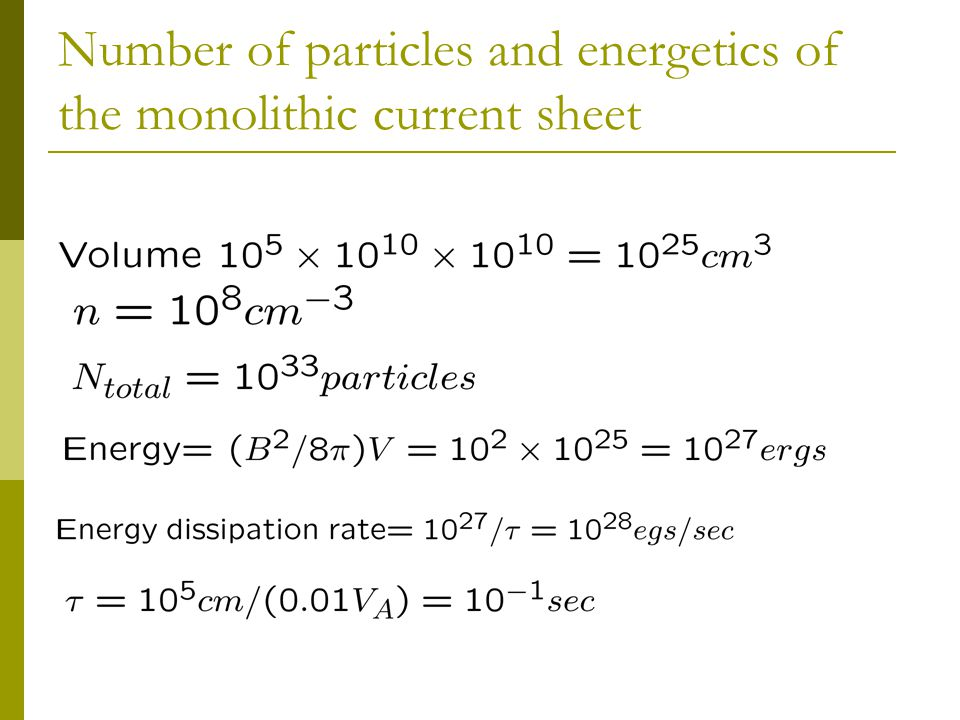 Number of particles and energetics of the monolithic current sheet