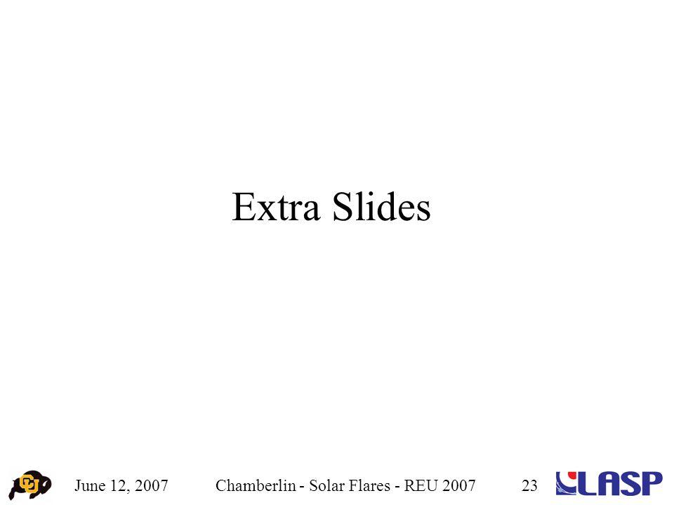June 12, 2007Chamberlin - Solar Flares - REU 200723 Extra Slides