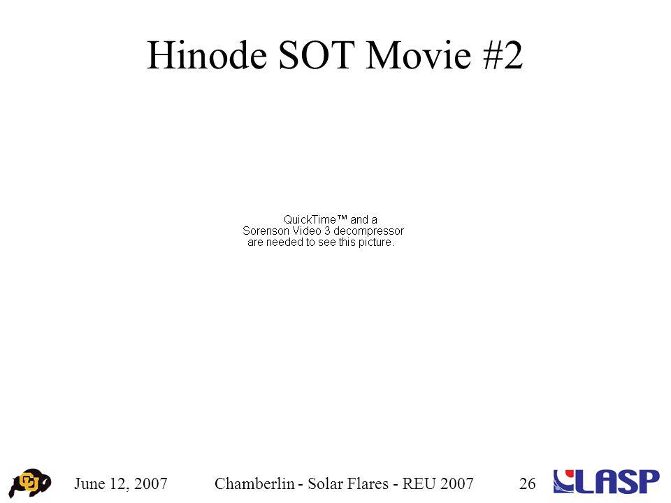 June 12, 2007Chamberlin - Solar Flares - REU 200726 Hinode SOT Movie #2