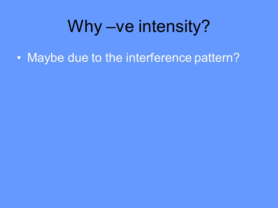 Why –ve intensity Maybe due to the interference pattern