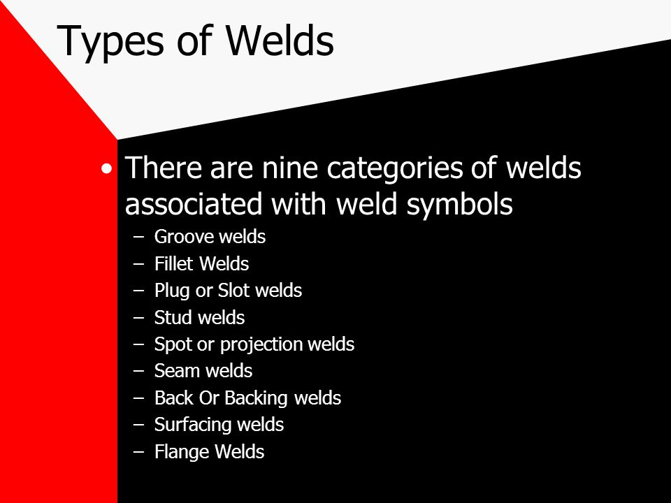Types of Welds Numerous welds can be applied to the various types of joints Considerations when choosing joint geometry and weld types: –a–accessibili