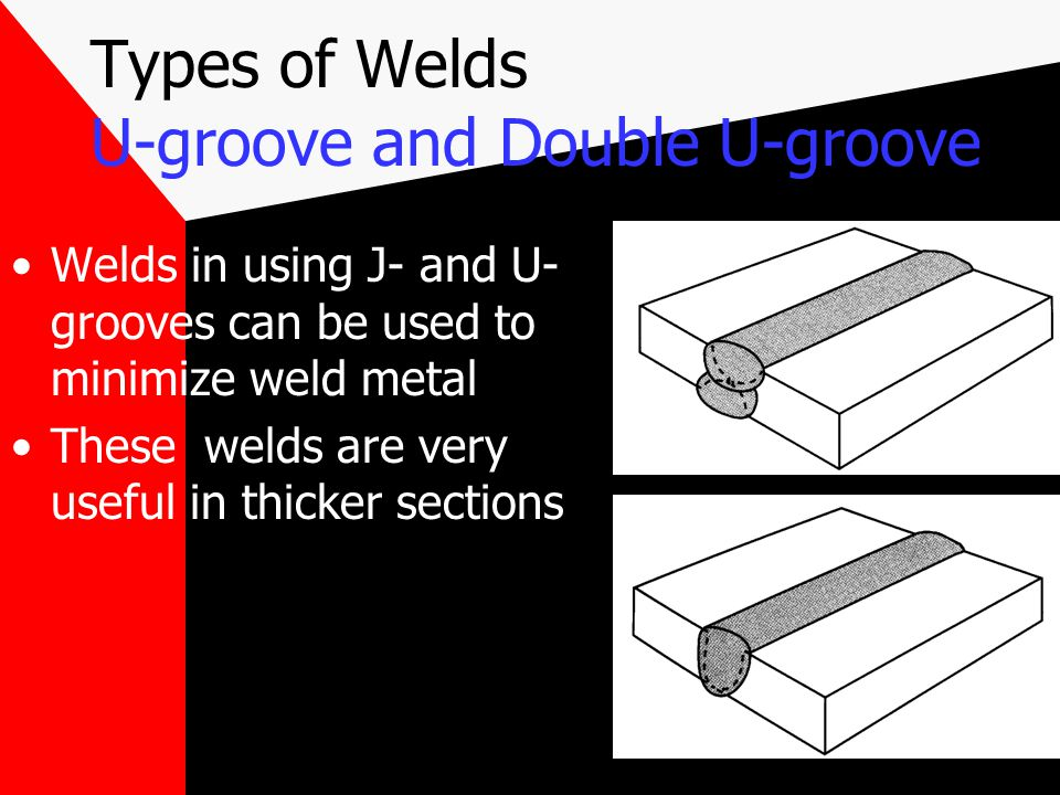 Groove Welds Bevel- and double-bevel- groove welds Bevel- and J- groove welds are more difficult to weld than V- or U- groove welds Bevel welds are ea