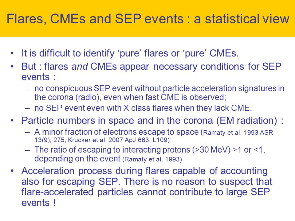 It is difficult to identify 'pure' flares or 'pure' CMEs.