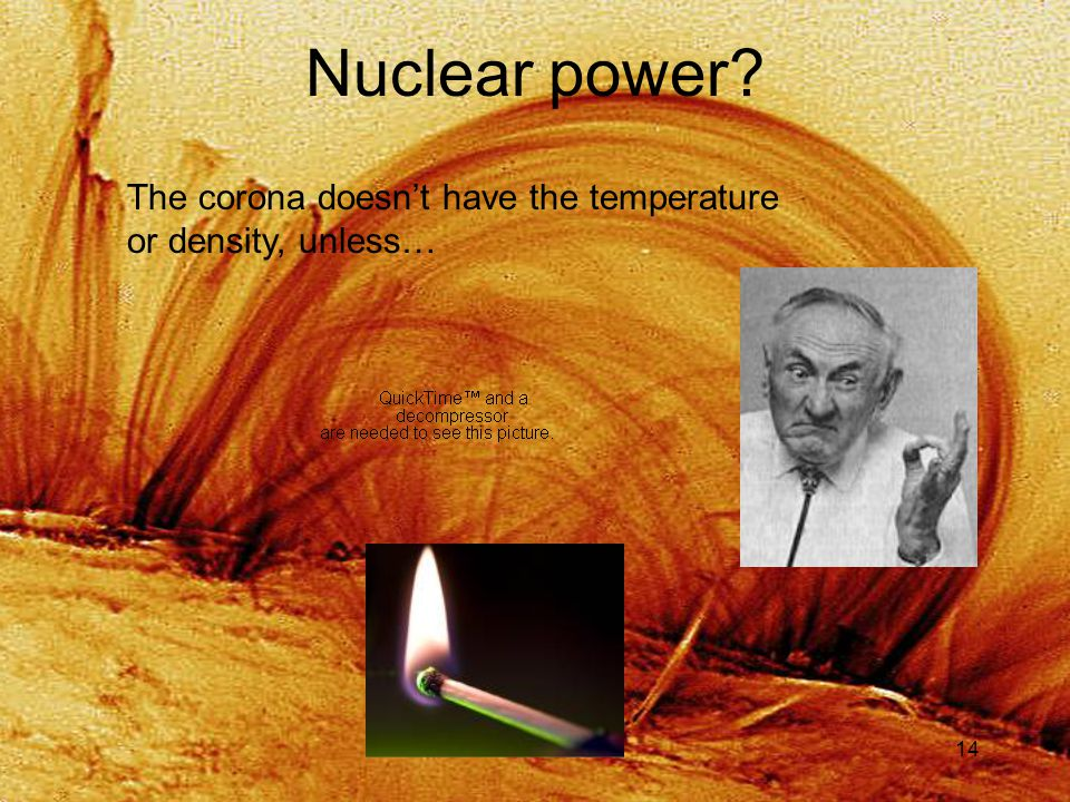 14 Nuclear power? The corona doesn't have the temperature or density, unless…