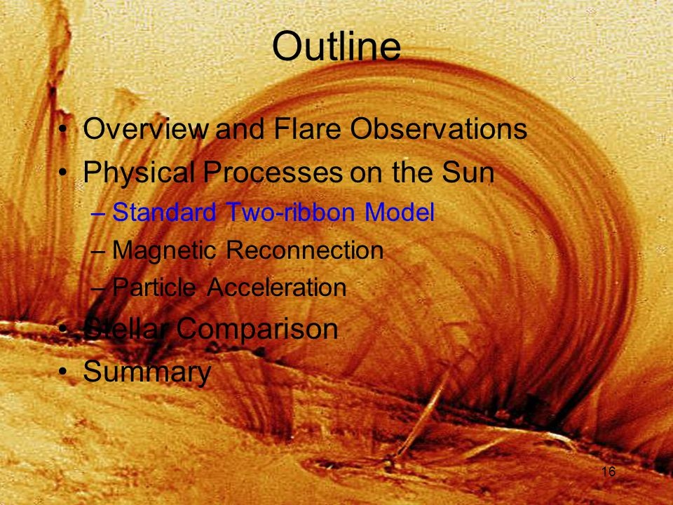 16 Outline Overview and Flare Observations Physical Processes on the Sun –Standard Two-ribbon Model –Magnetic Reconnection –Particle Acceleration Stellar Comparison Summary