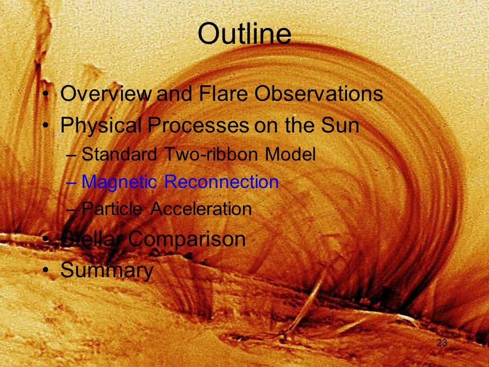 23 Outline Overview and Flare Observations Physical Processes on the Sun –Standard Two-ribbon Model –Magnetic Reconnection –Particle Acceleration Stellar Comparison Summary