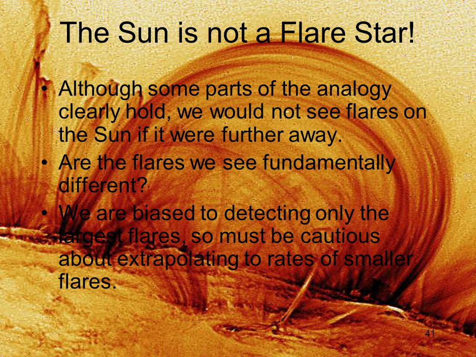 41 The Sun is not a Flare Star.