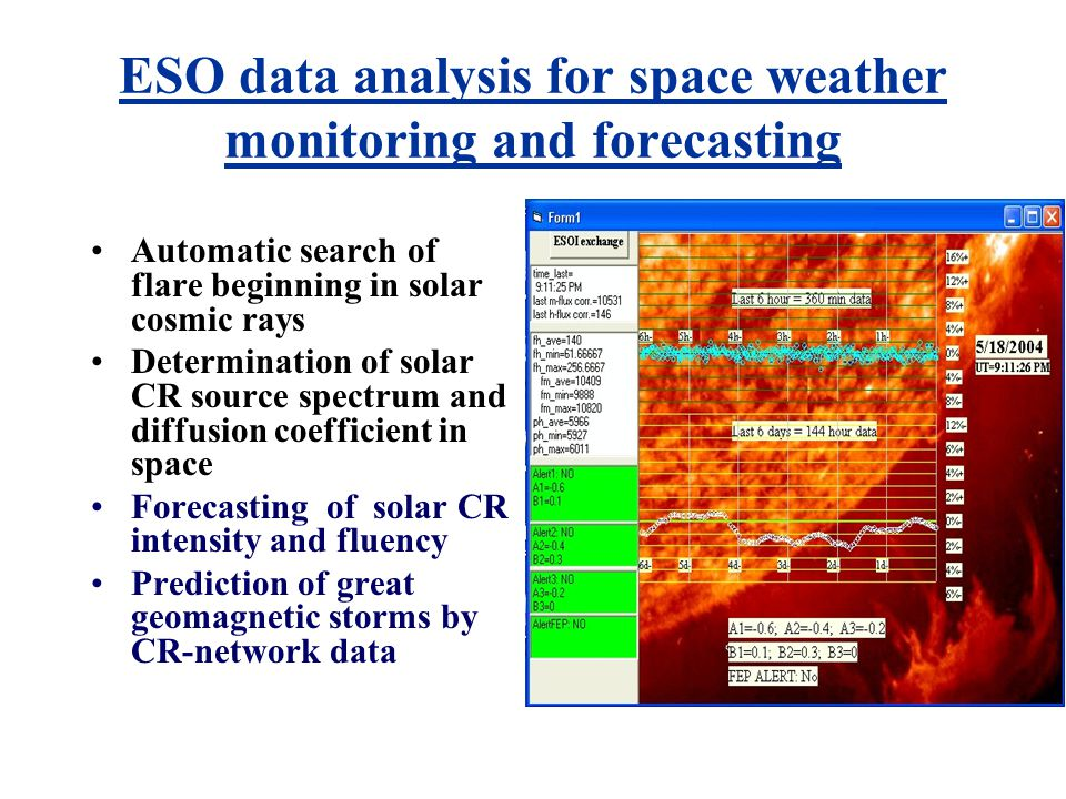 ESO data input for space weather monitoring and forecasting CR Neutrons flux (minute) CR Multiplicity (energy spectrum) Temperature, pressure, humidity, wind, atmospheric electric field Earth magnetic field (magnetic storms) CR-mesons Solar irradiation Earthquake's neutrons