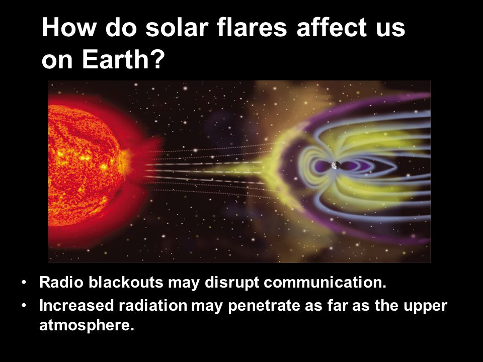 How do solar flares affect us on Earth. Radio blackouts may disrupt communication.