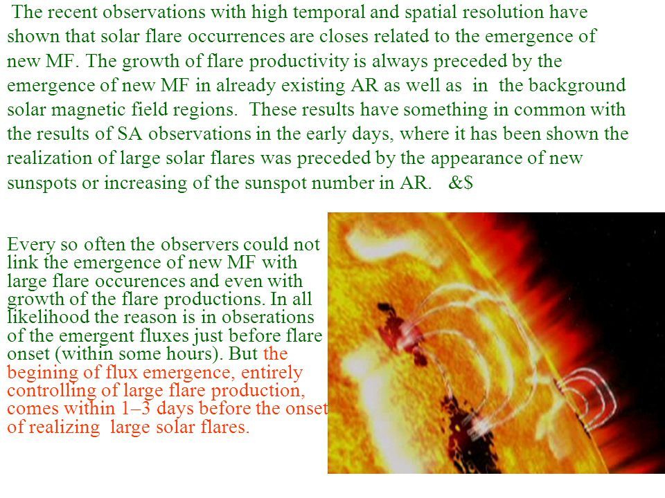 The recent observations with high temporal and spatial resolution have shown that solar flare occurrences are closes related to the emergence of new MF.