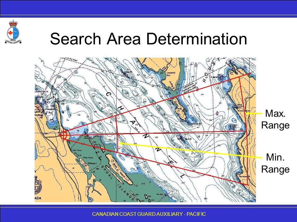 CANADIAN COAST GUARD AUXILIARY - PACIFIC Search Area Determination Max. Range Min. Range