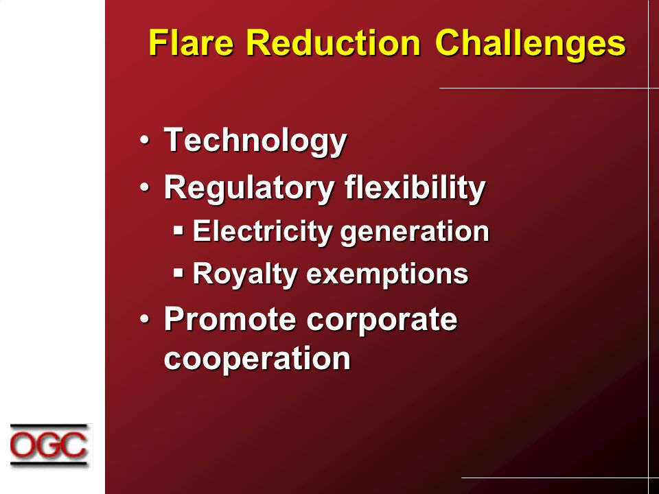 Flare Reduction Challenges TechnologyTechnology Regulatory flexibilityRegulatory flexibility  Electricity generation  Royalty exemptions Promote corporate cooperationPromote corporate cooperation