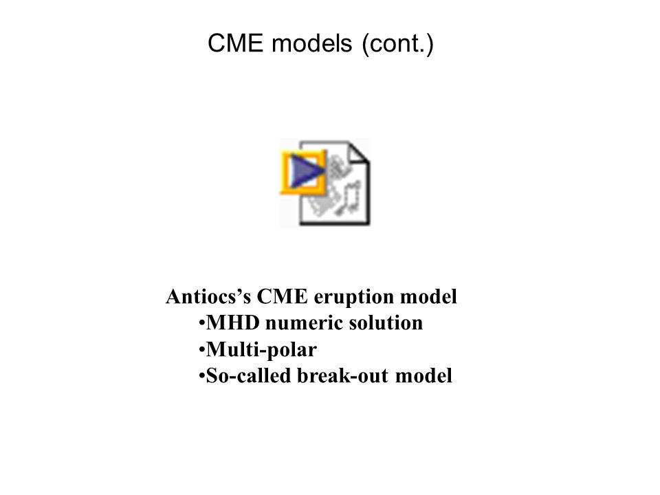 CME models (cont.) Antiocs's CME eruption model MHD numeric solution Multi-polar So-called break-out model