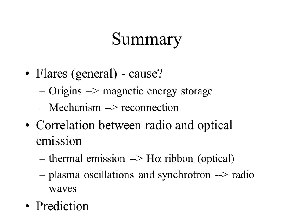 Summary Flares (general) - cause.