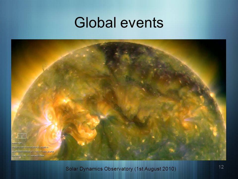 Global events Solar Dynamics Observatory (1st August 2010) 12