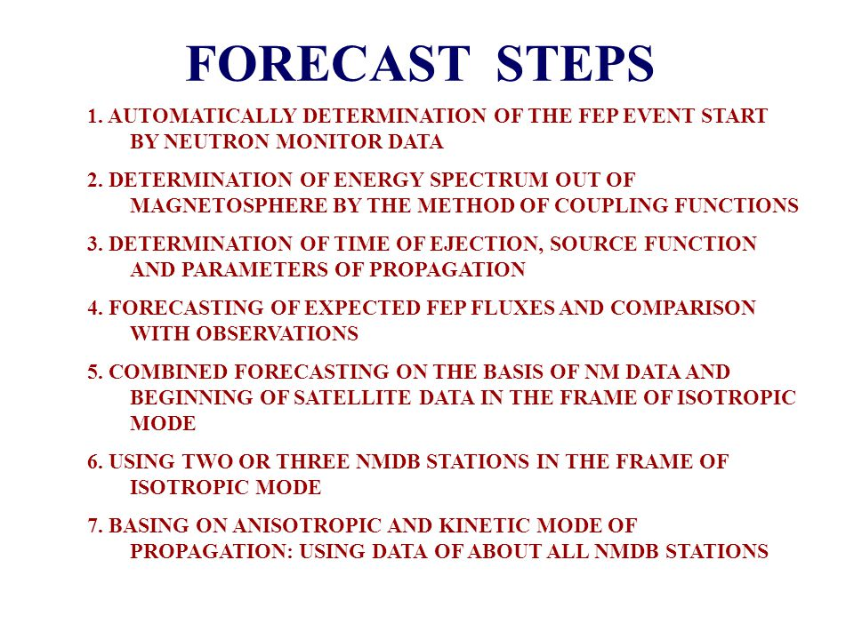 FORECAST STEPS 1.AUTOMATICALLY DETERMINATION OF THE FEP EVENT START BY NEUTRON MONITOR DATA 2.