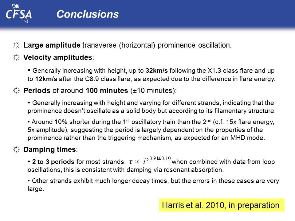 Conclusions ☼Large amplitude transverse (horizontal) prominence oscillation.
