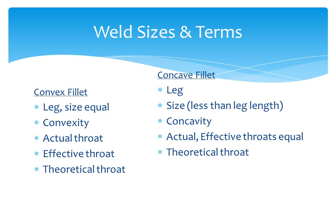 Weld Sizes & Terms Convex Fillet  Leg, size equal  Convexity  Actual throat  Effective throat  Theoretical throat Concave Fillet  Leg  Size (less than leg length)  Concavity  Actual, Effective throats equal  Theoretical throat