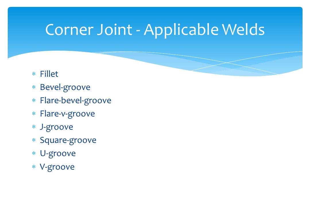 Corner Joint - Applicable Welds  Fillet  Bevel-groove  Flare-bevel-groove  Flare-v-groove  J-groove  Square-groove  U-groove  V-groove