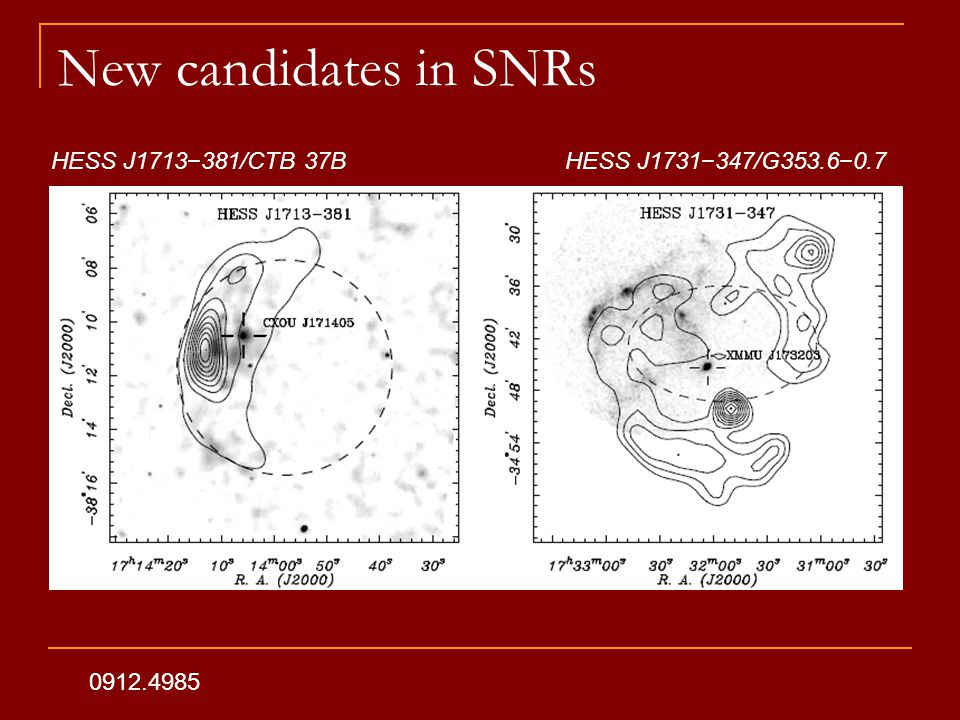 New candidates in SNRs 0912.4985 HESS J1713−381/CTB 37BHESS J1731−347/G353.6−0.7