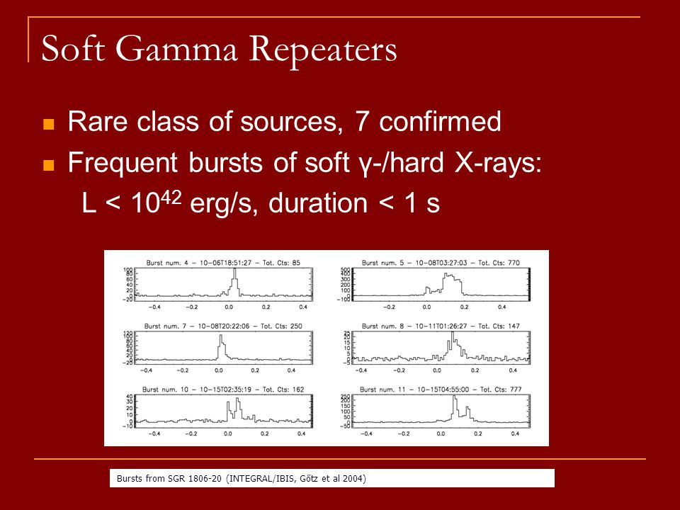 Soft Gamma Repeaters Rare class of sources, 7 confirmed Frequent bursts of soft γ-/hard X-rays: L < 10 42 erg/s, duration < 1 s Bursts from SGR 1806-20 (INTEGRAL/IBIS,,Gőtz et al 2004)