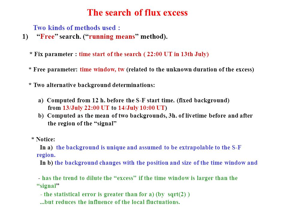 """Two kinds of methods used : 1)""""Free"""" search. (""""running means"""" method). * Fix parameter : time start of the search ( 22:00 UT in 13th July) * Free para"""