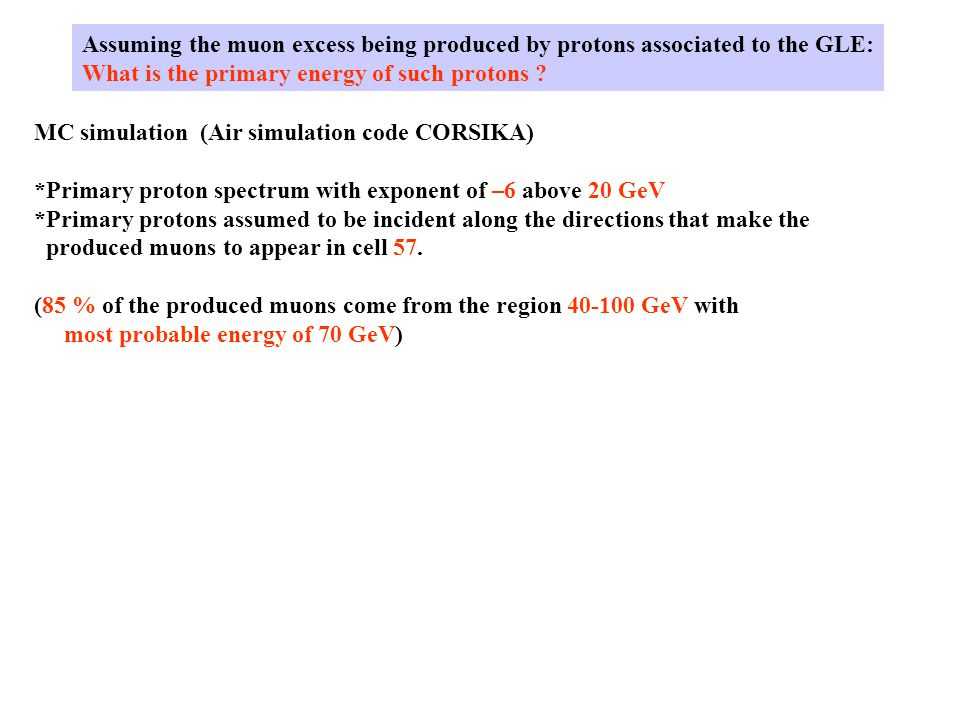Assuming the muon excess being produced by protons associated to the GLE: What is the primary energy of such protons ? MC simulation (Air simulation c