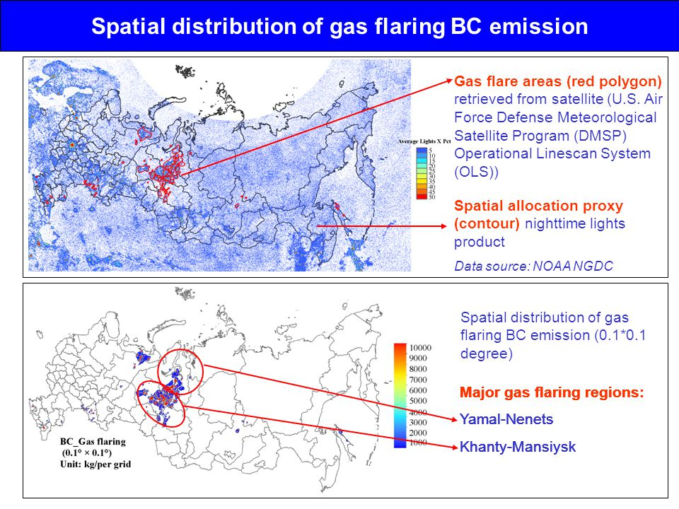 Spatial distribution of gas flaring BC emission Gas flare areas (red polygon) retrieved from satellite (U.S.