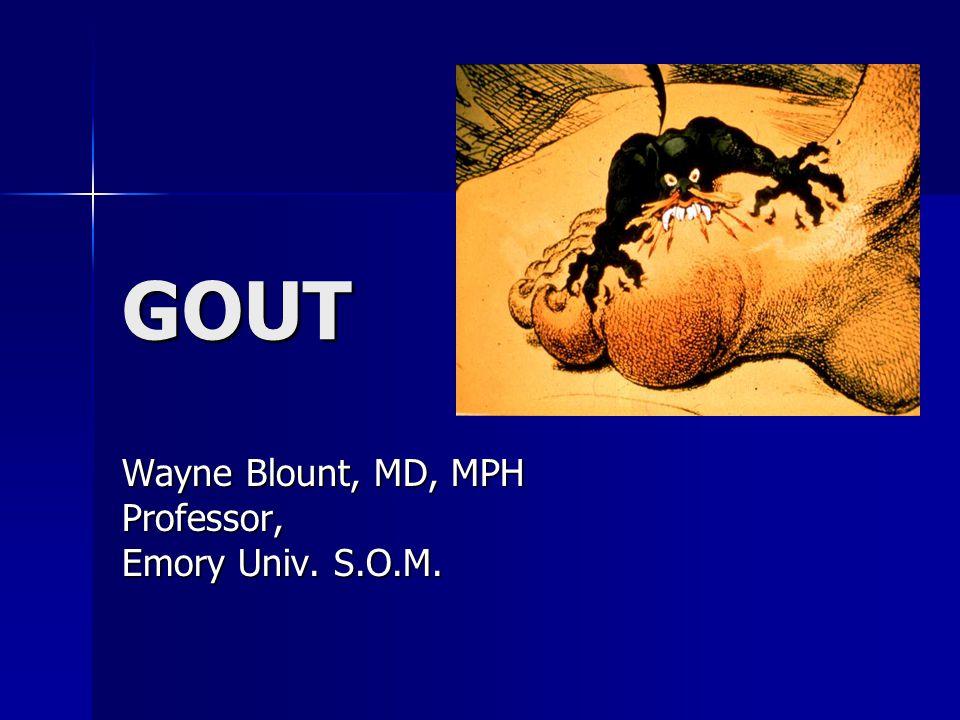 GOUT Wayne Blount, MD, MPH Professor, Emory Univ. S.O.M.