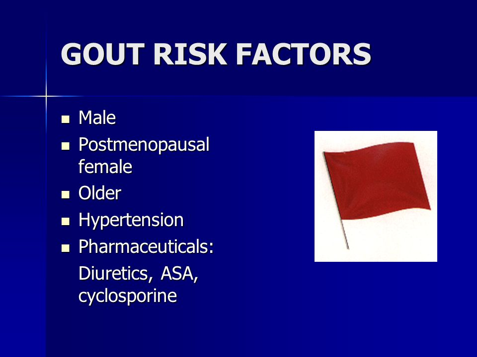 GOUT RISK FACTORS Male Male Postmenopausal female Postmenopausal female Older Older Hypertension Hypertension Pharmaceuticals: Pharmaceuticals: Diuretics, ASA, cyclosporine