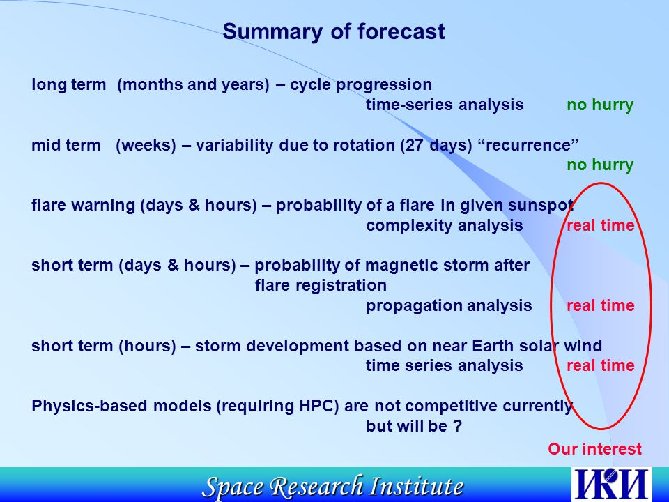 Space Research Institute Summary of forecast long term (months and years) – cycle progression time-series analysis no hurry mid term (weeks) – variability due to rotation (27 days) recurrence no hurry flare warning (days & hours) – probability of a flare in given sunspot complexity analysis real time short term (days & hours) – probability of magnetic storm after flare registration propagation analysis real time short term (hours) – storm development based on near Earth solar wind time series analysis real time Physics-based models (requiring HPC) are not competitive currently but will be .