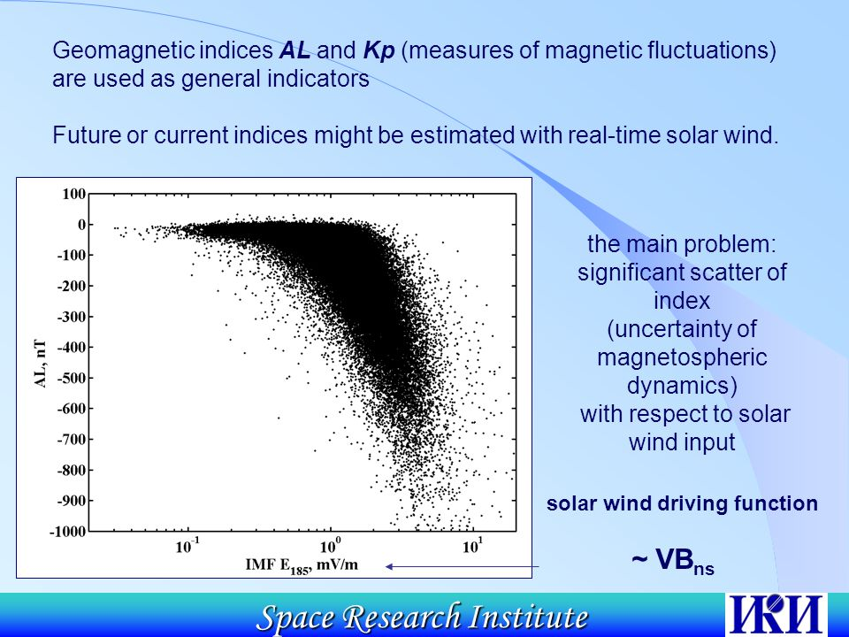 Space Research Institute Geomagnetic indices AL and Kp (measures of magnetic fluctuations) are used as general indicators Future or current indices might be estimated with real-time solar wind.