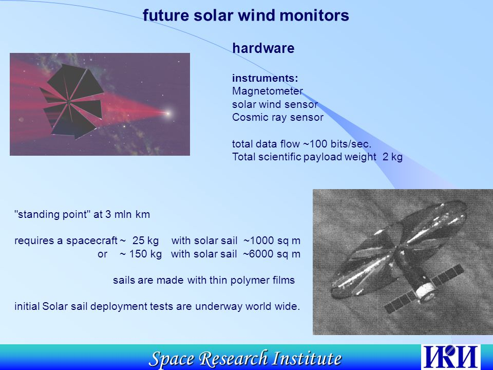 Space Research Institute hardware instruments: Magnetometer solar wind sensor Cosmic ray sensor total data flow ~100 bits/sec.