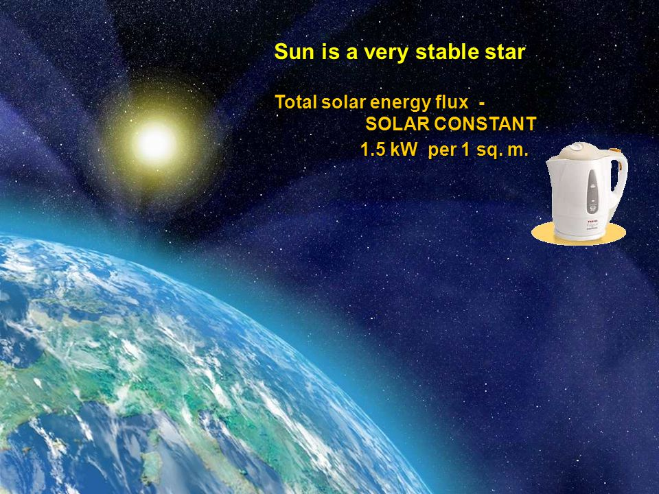 Space Research Institute Sun is a very stable star Total solar energy flux - SOLAR CONSTANT SOLAR CONSTANT 1.5 kW per 1 sq.