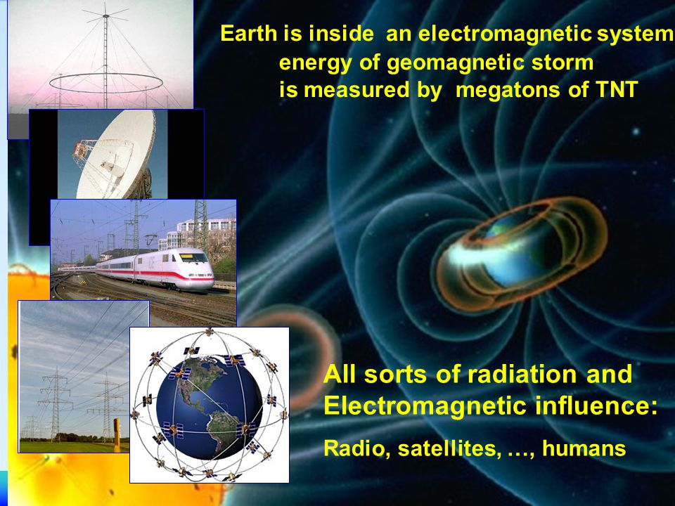 Space Research Institute Earth is inside an electromagnetic system: energy of geomagnetic storm is measured by megatons of TNT All sorts of radiation and Electromagnetic influence: Radio, satellites, …, humans