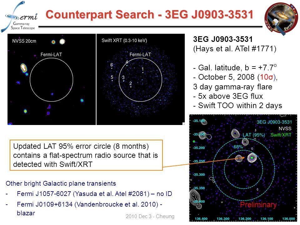 Counterpart Search - 3EG J0903-3531 68% 3EG J0903-3531 (Hays et al.