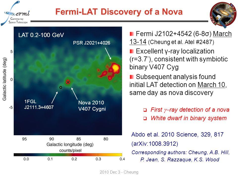 Fermi-LAT Discovery of a Nova Fermi J2102+4542 (6-8σ) March 13-14 (Cheung et al.