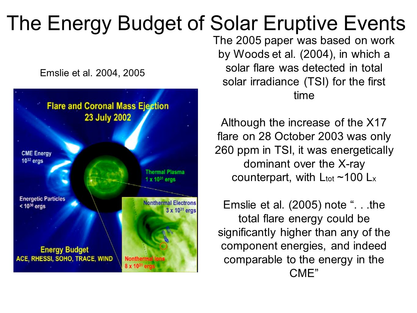 The Energy Budget of Solar Eruptive Events Emslie et al.