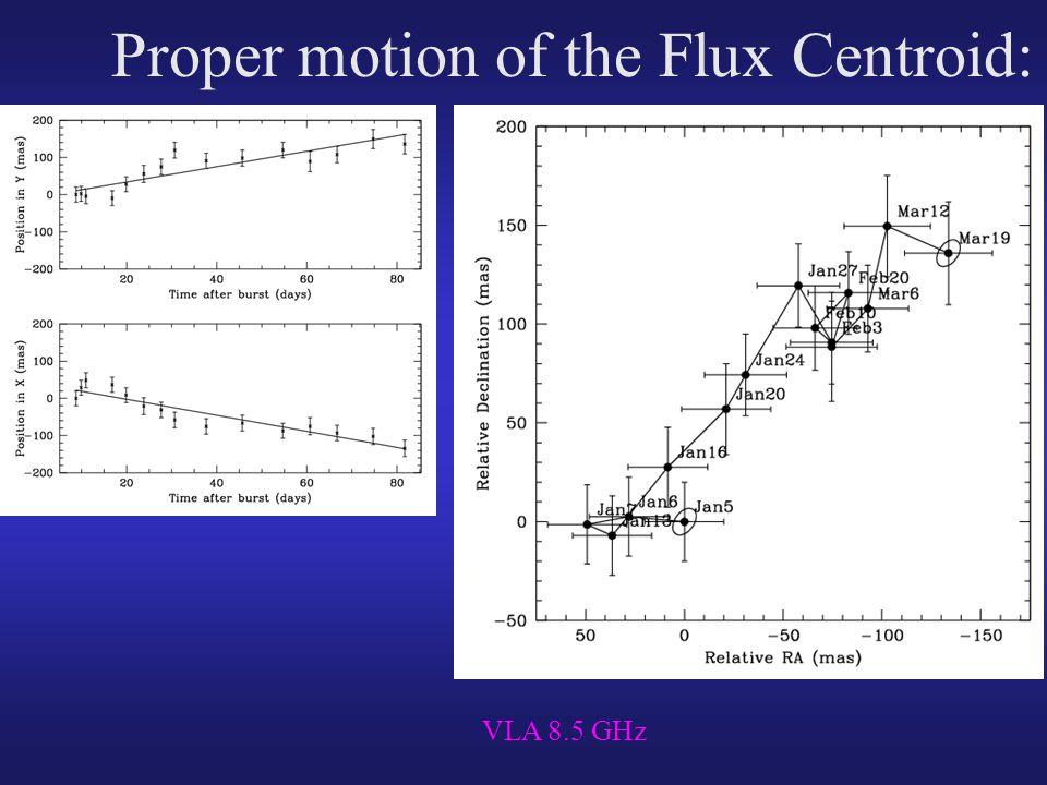 Proper motion of the Flux Centroid: VLA 8.5 GHz