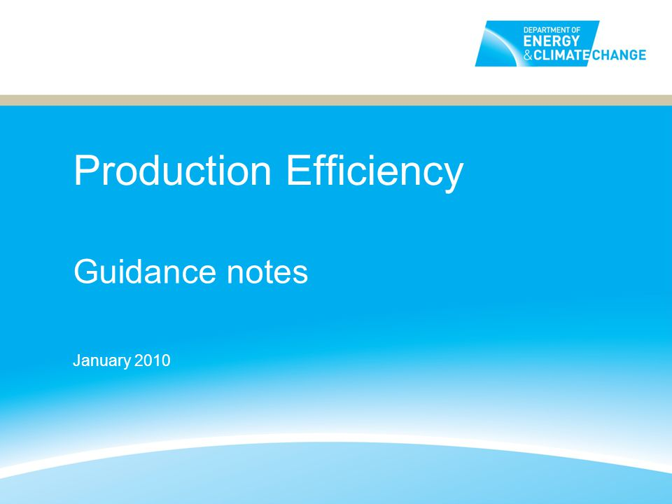 Production Efficiency Guidance notes January 2010